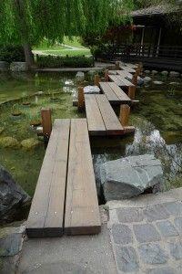 Alternate Views of Van Gogh's Red Cedar Zig-Zag Bridge Japanese Tea House, Japanese Garden Design, Japanese Gardens, Japanese Style, Garden Paths, Garden Bridge, Landscape Architecture, Landscape Design, Home Landscaping