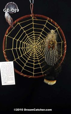 These beautiful dream catchers have a 9 inch hoop and are the creation of  Tom Gray Elk Rael.  The Ojibway weave is the original weave of the dream catcher and not commonly found today. We think it is beautiful as it resembles the spiderweb closely.
