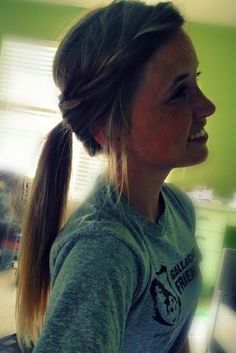 Pony with a braid running into it. A quick and cute updo! ✌