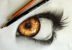 Golden Eye Drawing by Dária Dzyuba