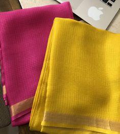 Pure silk kota kurta 2 kurta in a pack Length : metres each Colours : yellow and pink Quantity 1 is equal to 2 kurta Cotton Saree Blouse Designs, Saree Blouse Patterns, Fancy Blouse Designs, Kota Silk Saree, Silk Sarees, Sari, Designer Sarees Wedding, Indian Bridal Sarees, Sleeves Designs For Dresses