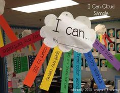 I Can Cloud. I use I Can statements. As an end of the year project, we can use this cloud to make a timeline of all the things we've learned how to do this school year. I'll hang them up in the room and the kids can take them home the last day of school.