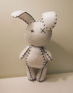 Felt little goth white rabbit plush stuffed toy by SouthernGothica
