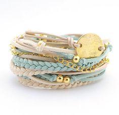 Mint Cream Wrap Bracelet Mint Cream Boho Bracelet