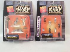 NIB 2 STARWARS BATTLE PACKS #13 & #14 LEIA SOLO OBI-WAN DARTH R2-D2 1992 NOS