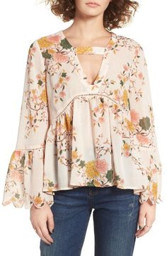 Sun & Shadow Floral Print Bell Sleeve Blouse available at Floral Tops, Floral Blouse, Floral Prints, Bell Sleeve Blouse, Bell Sleeves, Beautiful Blouses, Blouse Styles, Clothing Items, Spring Outfits