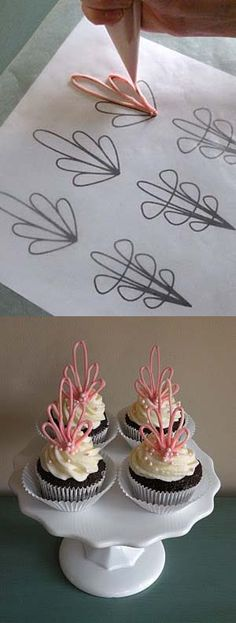 DIY Cupcake Toppers Made of Chocolate. Can make initials as well for a birthday party