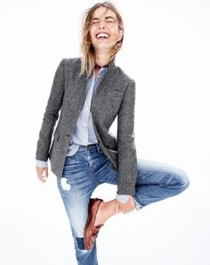 J.Crew women's Regent blazer, Thomas Mason® for J.Crew collarless tuxedo shirt in stripe, men's Italian silk pocket square in medallion print, Point Sur shoreditch straight selvedge jean in Vernon wash and Biella crackled leather loafers.