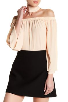 7643d77acea71b Off-the-Shoulder Bell Sleeve Blouse by Reverse. Chic Outfits