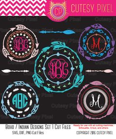 Boho / Indian Arrow Designs Monogram Frames SET 1  This is Digital artwork ready for immediate download and ready to be use on such software as