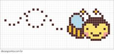 Free Bee Hama Perler Bead Pattern or cross stitch pattern Kawaii Cross Stitch, Tiny Cross Stitch, Beaded Cross Stitch, Cross Stitch Animals, Cross Stitch Charts, Cross Stitch Designs, Cross Stitch Embroidery, Cross Stitch Patterns, Perler Patterns