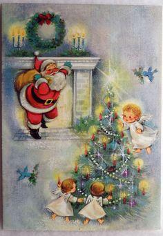 86 50s Sweet Angels Decorate The Tree for Santa Vtg Unused Christmas Card | eBay
