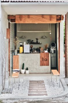 love the simplicity! Cafe Shop Design, Small Cafe Design, Kiosk Design, Cafe Interior Design, Small Coffee Shop, Coffee Store, Coffee Shop Business, Coffee Restaurants, Cafe Concept