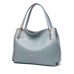 Womens Leather Handbags Blue Grey Tote Shoulder Bag Purses Daily Fashion Elegant #WomensLeatherHandbagsBlueGreyTote