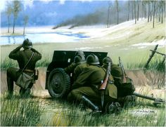Polish anti tank gun, september 1939 - pin by Paolo Marzioli Military Art, Military History, Invasion Of Poland, French Army, Ww2 Tanks, Afrika Korps, Dieselpunk, World War Two, Wwii