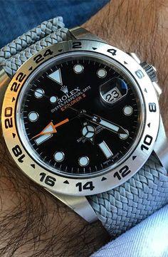 Rolex Oyster Perpetual Date Explorer II on a perlon strap More