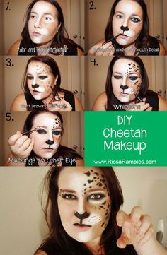 DIY Cheetah Makeup for Halloween! Saw a similar pin before but it had no tutorial, so I made one! #cheetah #makeup #halloween #tutorial
