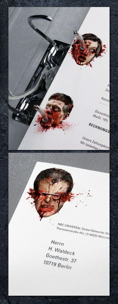 13th Street 'Stationery of Horror' | #horror #mailing #zombie #invoice #halloween #campaign #ambient #creative #stationary #guerillamarketing #guerilla #ambient #marketing found on behance.net pinned by www.GuerillaMarketing-Agentur.de a division of www.BlickeDeeler.de