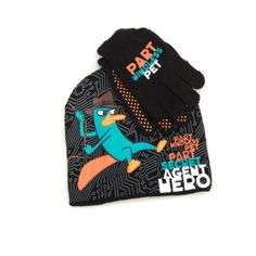 Disney Little Boys Agent P Hero Beanie and Glove Set Black One Size *** More info could be found at the image url.
