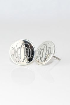 3/4 inch Large Monogrammed Earrings Personalized Sterling Silver Initial Stud Posts - Mothers day gift for her - Engraved - Bridesmaids