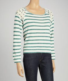 Take a look at this Bright Hunter & Buttercream Lace Stripe Sweatshirt by Derek Heart on #zulily today!