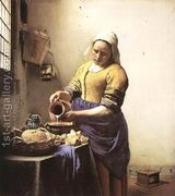 The Milkmaid - Johannes Vermeer hand-painted oil painting reproduction,Kitchen Maid Pours Milk from a Jug by Window Scene,Dinning Room Art Johannes Vermeer, Artist Canvas, Canvas Art, Thing 1, Stretched Canvas Prints, Wood Wall Art, Wall Tile, Painting Prints, A Table