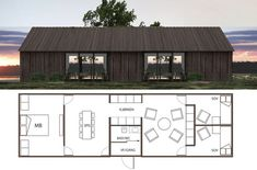 Weekend House by Wullum Modern Barn House, Modern Cottage, Shed Homes, Prefab Homes, Casas Containers, Weekend House, Small House Plans, Cabana, Building A House