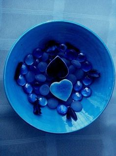 Blue heart and coloured glass