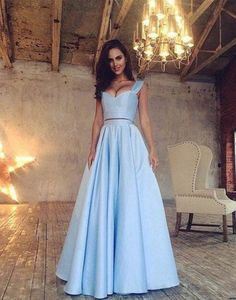 Blue Satin Prom Dress,Two Pieces Prom Dress,Custom Made Evening Dress,17214