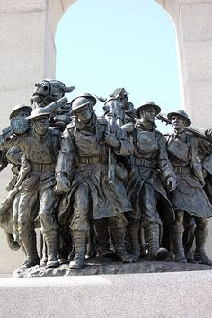 """The National War Memorial (also known as The Response), is a tall granite cenotaph with accreted bronze sculptures, that stands in Confederation Square."