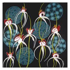 """""""White Spider Orchid"""" art print of an original painting by Helen Ansell. Inspirational Artwork, Small Art, Leaf Art, Aboriginal Art, Australian Artists, Large Flowers, Botanical Art, Art Tutorials, Fine Art Paper"""