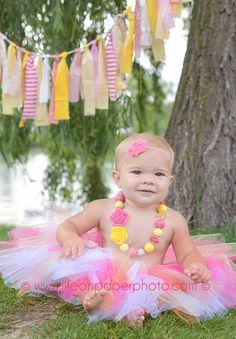 Pink Lemonade Pink and Yellow Scrap Fabric Rag Tassel Fabric Rag Banner Baby Photography Prop Birthday Party Decoration Cake Smash
