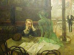 빅터 올리브-압생트 마시는 사내  압생트 라는 술을 마셔본 적은 없지만, 매우 독한 술임에는 분명하다. 이 그림에서 한 남자는 압생트를 마신듯하다. 술을 먹고 괴로운 듯, 일그러진 표정과는 대조되게 그의 옆에 있는 나체의 투명한 초록색 여인은 다정다감한 표정으로 남자를 바라보고 있다. 이는 압생트가 남자의 환상 속에서 여자의 형상으로 재구성 된 것으로 볼 수 있다. 이 여자의 형상은 남자의 괴로운 심정을 달래주고, 그를 고난 속에서 잠시나마 구원해 줄 수 있는 매개체인 것이다.