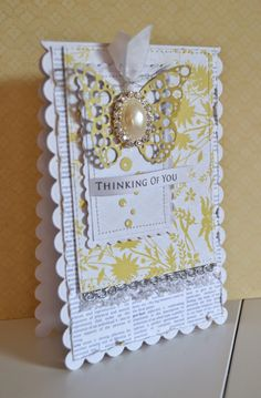 Card butterfly butterflies gold white Blomsterbox