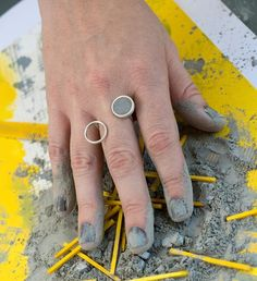 Double Circles Concrete Ring, by BAARA Jewelry.