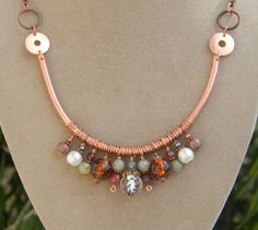 Earth's Splendor - Copper Stone and Glass Beaded Necklace Cultured Pearl Necklace, Copper Necklace, Diy Necklace, Copper Jewelry, Wire Jewelry, Jewelry Art, Beaded Jewelry, Jewelery, Copper Art