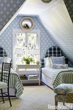 Bedroom with tartan plaid headboards