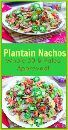 This Plantain Nachos Recipe replaces tortilla chips with crunchy, salty plantain chips. This recipe is a healthy, Whole 30 and Paleo approved appetizer. While it is a healthy alternative to traditional nachos, these Plantain Nachos don't skimp on flavor and still remain a crowd pleaser. #ad