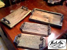 A rustic decorator's dream! I make several different styles and sizes of reclaimed barn wood trays. Some with cast iron handles, some with wooden handles. You can't match the character of old barn ...