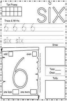 Number 6 Practice Sheet - Includes more/less, ten frame, coloring, odd/even, and more to practice this number.