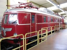 A Nazi electric train from the '30s on display in Nuremberg, complete with Nazi eagle.   Read more: http://worldwartwo.filminspector.