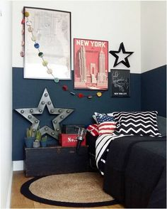 http://www.thebooandtheboy.com/2016/11/kids-rooms-on-instagram_28.html Teen Room Decor, Home Decor Bedroom, Boy Decor, Kids Room Paint, Kids Rooms, Little Boys Rooms, Boy Room, Cool Boys Room, Kids House
