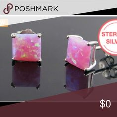 Coming Soon❣️Pink Opal Sterling Silver Studs These are lab created pink opal princess cut studs in a sterling silver setting. More details coming soon! Jewelry Earrings