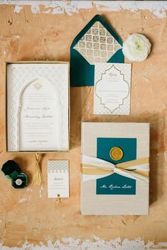 The Moroccan-inspired styled wedding shoot featured an invitation suite in a gold, ivory, and teal color palette. Indian Wedding Invitations, Wedding Invitation Suite, Wedding Stationary, Moroccan Theme, Moroccan Wedding, Moroccan Style, Magical Wedding, Glamorous Wedding, Wedding Trends