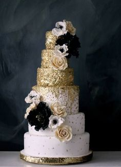 Color Inspiration: Shimmering Gold Wedding Ideas - gold wedding cake;  Caketress