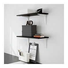 "EKBY LAIVA / EKBY STÖDIS Wall shelf, black-brown, white - 23 1/4x9 1/2 "" - IKEA"
