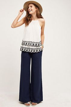 Fold-Over Linen Wide-Legs - anthropologie.com