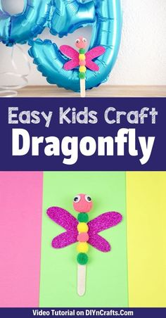 Add a pop of color to your life with this simple craft stick dragonfly kids craft! A fun little craft stick project that uses dollar store supplies. I love easy kids crafts like this one because they often use cheap supplies making them ideal for school crafts, homeschool crafts, and preschool craft ideas.  #CraftSticks #Dragonfly #KidsCrafts #HomeschoolCrafts #ArtsandCrafts #EasyCrafts Craft Stick Projects, Craft Stick Crafts, Preschool Crafts, Fun Projects, Kids Crafts, Arts And Crafts, Summer Crafts For Kids, Summer Diy, Kids Fun
