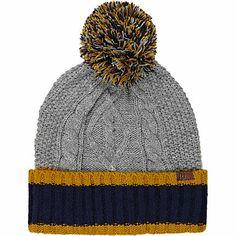 Grey contrast trim cable knit beanie hat - hats - accessories - men Knit  Beanie Hat e21a871a0799