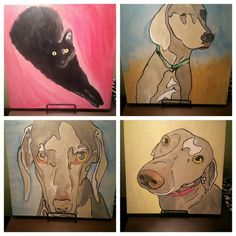 Custom order for 3 dogs and 1 cat portraits
